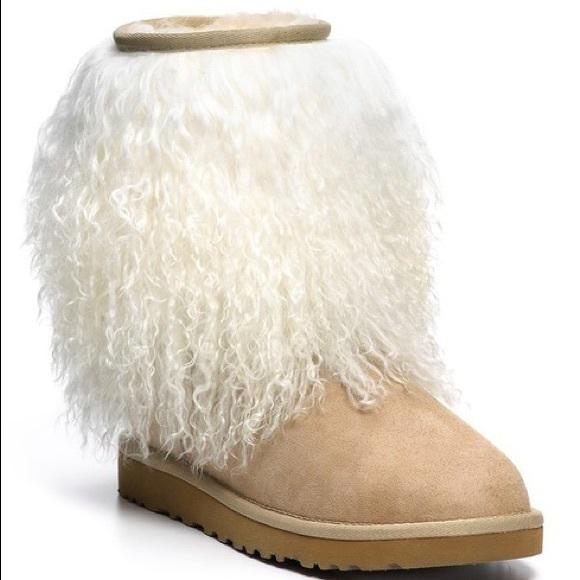 "e94599519a6 NIB UGG ""Lida"" sheepskin cuff boots 7 NWT"